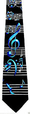 Blue Notes Mens Neck Tie Music Black Necktie Musical Note Clef Musician Gift New