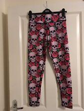 Lucy Locket Loves Skull & Rose Print Activewear Leggings Size Small BNWT