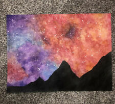Watercolor Colorful Night Sky With Mountains Abstract