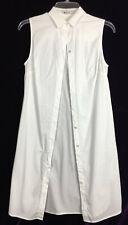 S T Alexander Wang Long Sleeveless Shirt Dress Crisp Cotton White Button Down