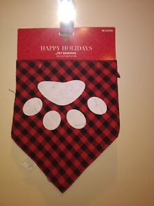 Red and Black  plaid Pet Bandanna for Dogs Size Small/Medium