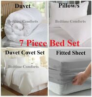 """DOUBLE 4' 6"""" BED IN A BAG Duvet Cover Set + Duvet + Pillows + Fitted Sheet GREY"""