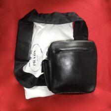"9"" VTG Prada Milano Black Leather 3"" W Strap Crossboddy Shoulder Mens Bag RARE"