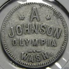 Trade token: A. Johnson, Olympia, Washington - 5 cents aluminum