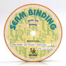"Woven Edge Seam Binding Ribbon 100% Rayon 9/16"" 100 yards Dark Brown #49"