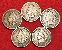 (5) Vintage Indian Head Pennies 1 Cent US Coins Penny Lot 1900s Good or Better!