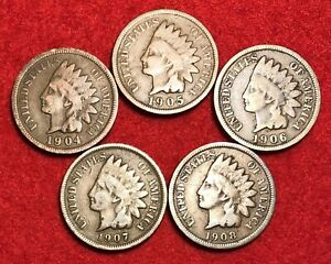 Single Indian Head Cents 1900 to 1909