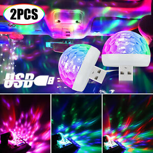 2x USB Mini Disco DJ Ball Car Party Atmospher Light Bar Colorful Sound Activated
