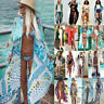 Womens Bikini Cover Up Swimwear Beach Floral Kimono Boho Sarong Kaftan Dress