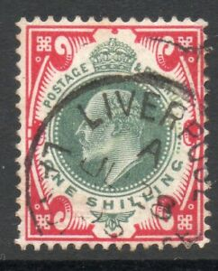 GB ED7TH SG257 SPEC M45(1) 1/- Dull Green and carmine Liverpool CDS Cat £40 (3)