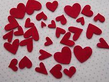 30 X RED  FELT HEARTS  - QUALITY  100% WOOL FELT-VALENTINES/CRAFTS