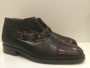 Massimo Emporio Low Ankle Boots Slip On Dress Shoes Buckle Detail Mens 9.5