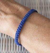 Bracelet brésilien amitié fil coton ciré tresse porte bonheur bleu foncé 21156