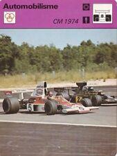 AUTOMOBILE carte fiche photo CHAMPIONNAT DU MONDE 1974 EMERSON FITTIPALDI