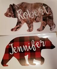 YOUR NAME in a Bear Decal!! Camo or buffalo plaid! FrEE shipping! Fast!