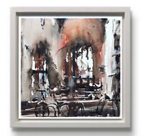 Landscape Painting Watercolor Original Venice Architecture Impressionism 7x7 inc