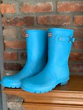 Hunter Womens Original Short Baby Blue Rain Boots Shoes 9 Medium (B,M)