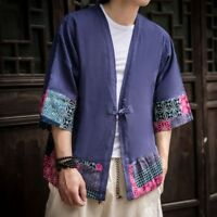 Mens Linen Japan Kimono Floral 3/4 Sleeve Ethnic Cardigan T-shirt Top Blouse Tee
