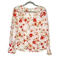 Joie V-Neck Button Front Long Sleeve Floral Top Blouse Elastic Sleeves Size S