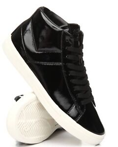 NEW MEN PONY CLASSIC BLACK PATENT LEATHER LACE UP HIGH TOP CANVAS SHOES SNEAKERS