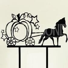 Princess Cinderella Theme Wedding Birthday Cake Black Acrylic Topper Silhouette