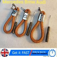 Brown Fashion Braided Leather Strap Key Chain Ring Car Key Fob - Various Cars
