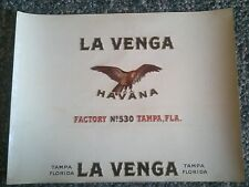 LA VENGA Inner Cigar Box label 1930s FACTORY No. 530 TAMPA HAVANA EAGLE