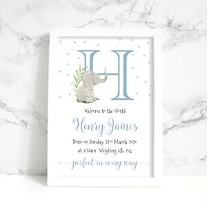 Personalised Elephant New Baby A4 Print, Pink, Neutral or Blue, Boy, Girl, Twins