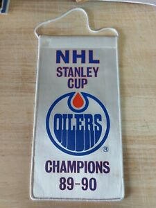 NHL Edmonton Oilers 1989-90 Stanley Cup Champs Mini Banner