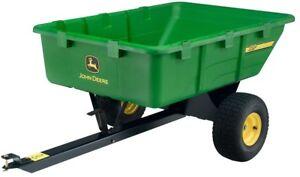 John Deere 650lb 10 cu. ft. Tow Behind Poly Utility Cart Haul Mulch Hitch Pin