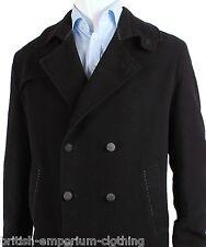 Bnwt Holland ESQUIRE lange schwarze Hand angepasste Moleskin alte Jacke Mantel XL