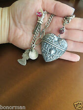 Victorian real silver Albertina chain necklase with sterling  Heart box