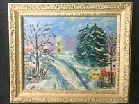 "Original Mid Century Impressionist Oil Painting ""Snow Scene"" 1965"