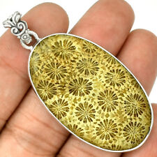 Indonesian Fossil Coral 925 Sterling Silver Pendant Jewelry PP75023