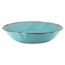"""NEW Le Cadeaux Antigua Turquoise Melamine Large 13.75"""" Salad Pasta Serving Bowl"""