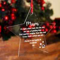 Personalised In Memory of Christmas Tree Decoration | Engraved Star Bauble Gift