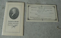Vintage 1927 Booklet and Attendance Card Stephen Girard Lodge 450 F&AM