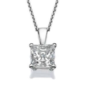 DIAMOND PENDANT D 3 CARAT PRINCESS SI1 SOLITAIRE NECKLACE + CHAIN 18K WHITE GOLD
