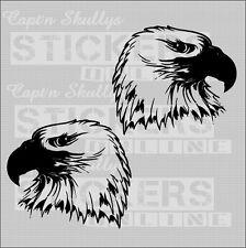 EAGLE HEADS DECALS X2 120x105mm Captn Skullys Stickers Online MPN 1238 M/purpose