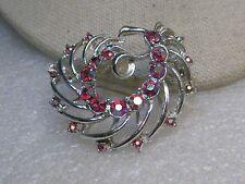 """1960's Red Aurora Borealis Brooch, Spiral Design, Silver Tone, 1.5"""""""