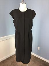 Calvin Klein Black Dress 12 Career Cocktail Sheath Cap Sleeve Excellent Suiting