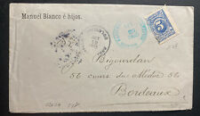 1905 Bucaramanga Colombia Commercial Cover To Bordeaux France