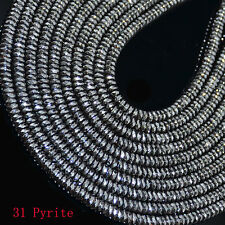 """2x4mm Multi-color Faceted Pyrite Gemstone Loose Beads 16"""""""