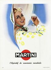 """""""MARTINI"""" Annonce originale entoilée PLAISIR DE FRANCE 1951 28x36cm"""