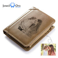 Personalized Picture Mens Wallet Genuine Leather Brown Bifold Xmas Fathers Gift
