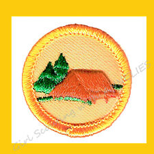 TROOP CAMPER Yellow Worlds Explore 1980 Badge Tent Girl Scouts Multi=1 Ship Chrg