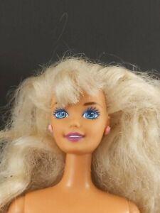 Mattel Barbie Doll 1990s Blonde Hair Pink Rose Earrings Nude for Redress/OOAK