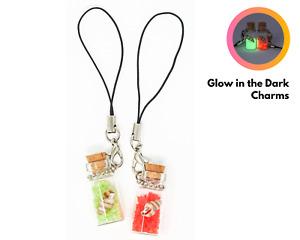 Glow in the Dark Mobile Phone Charm – Handbag Keyring Bag Glass Bottle Pendant