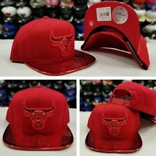 Exclusive Mitchell Ness NBA Metallic Red Chicago Bulls Adjustable snapback Hat