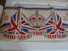 1953 Queen Elizabeth II Coronation Banner God Save the Queen Wallpaper Border